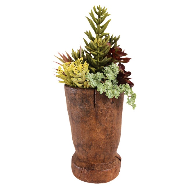Vintage Indian Urn with Faux Succulents For Sale