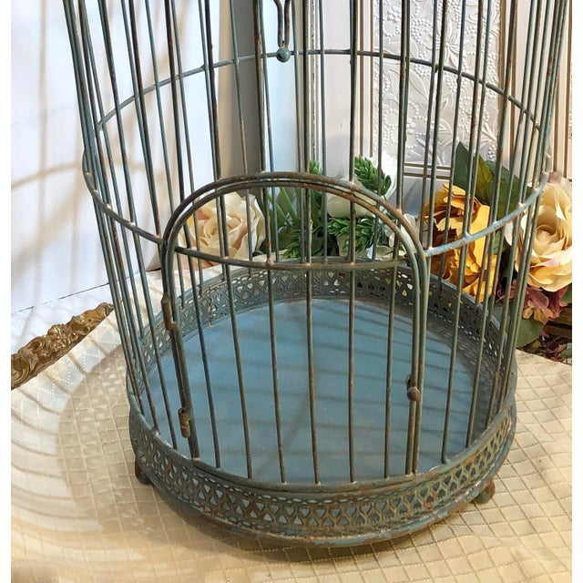 Teal Vintage Wire Bird Cage For Sale - Image 8 of 10