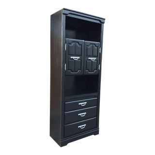 Black Satin Lacquer Solid Oak Bar Cabinet/Accent Cabinet