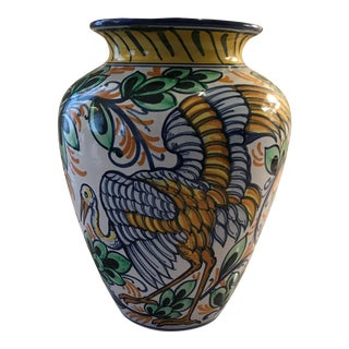 Golden Bird Motif Ceramic Vase For Sale