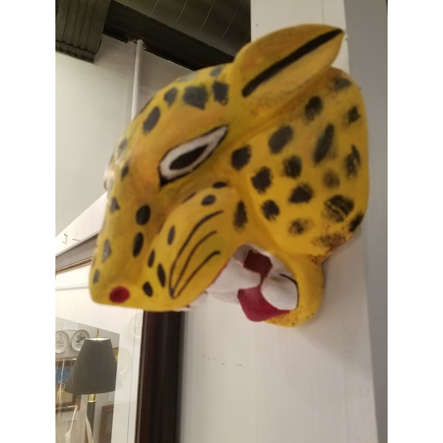 Hand Carved and Painted Mexican Folk Art Jaguar Mask For Sale - Image 4 of 4