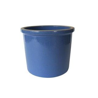 Vintage Blue Round Ceramic Stoneware Crock For Sale