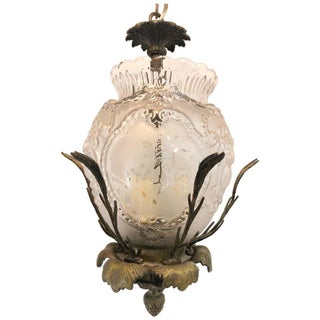 Hummingbird Chandelier of Bronze and Glass For Sale