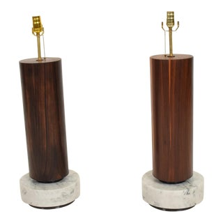 Mid Century Modernist Mexican Table Lamps in Rosewood and Marble For Sale
