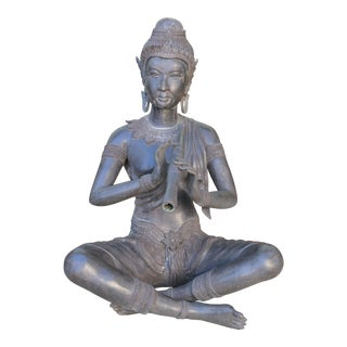 Indonesian Bronze Woman Playing Flute Statue For Sale