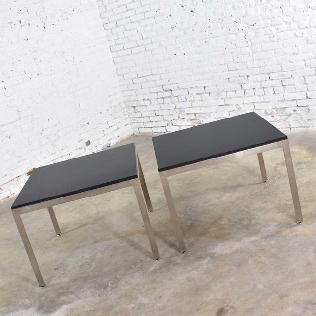 Pair Vintage Large Modern Square End Tables in Stainless Steel With Black Laminate Tops For Sale - Image 10 of 13