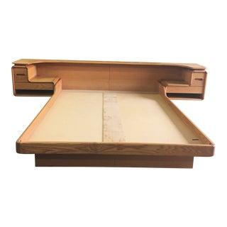1970s Mid-Century Modern Oak Platform Bedframe For Sale