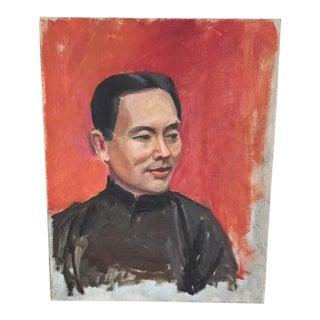 Vintage Mid-Century Oil Portrait Painting For Sale
