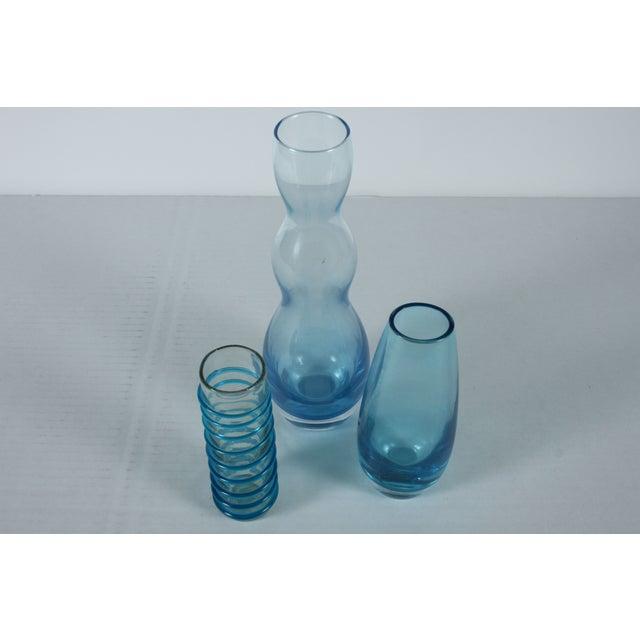 Handblown Blue Art Glass - Set of 3 - Image 3 of 3