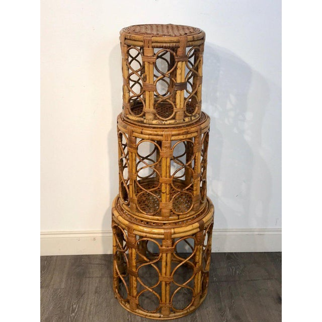 Mid 20th Century Set of Three Graduating/ Nesting Bamboo, Rattan and Reed Nesting Side Tables For Sale - Image 5 of 13
