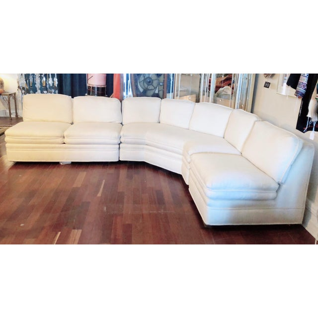White Vintage 1984 White Sherrill Sectional Sofa For Sale - Image 8 of 11