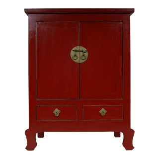 Antique Chinese 2 Doors Red Lacquered Cabinet For Sale