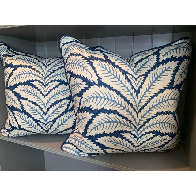 Custom Brunschwig and Fils Talavera pillows in blue. Features contrast welt, neutral linen backings and hidden zipper....