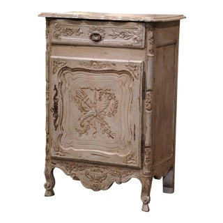 Late 19th Century French Louis XV Carved Oak Painted Jelly Cabinet From Provence For Sale