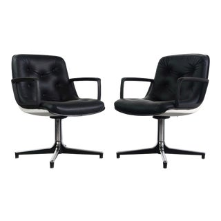 A Set of 2 Tufted Black High Stance Mid Century Modern Side Chairs that Swivel For Sale