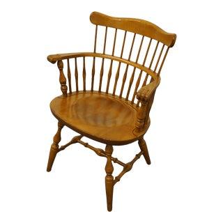 Ethan Allen Heirloom Nutmeg Maple Comb Back Arm Chair For Sale