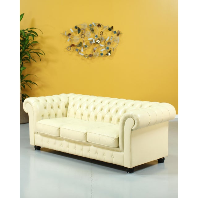 Tan Vintage Beige Leather Chesterfield Sofa For Sale - Image 8 of 8