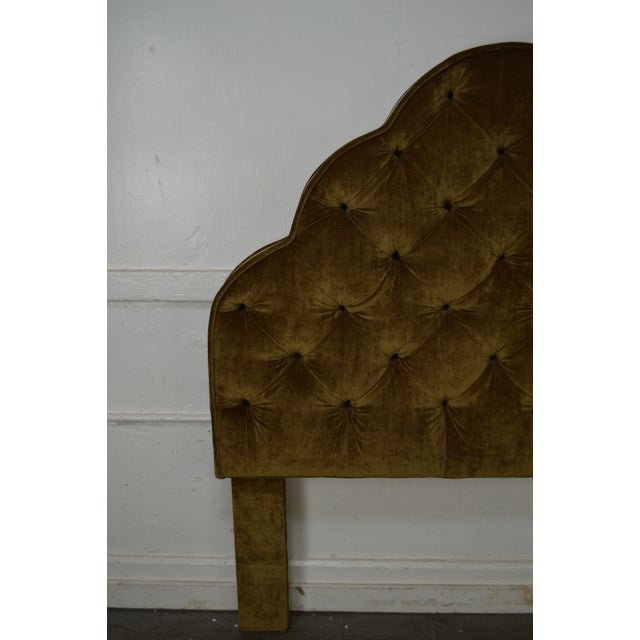 Yellow Robert Allen Tufted Upholstered Full Size Headboard For Sale - Image 8 of 9
