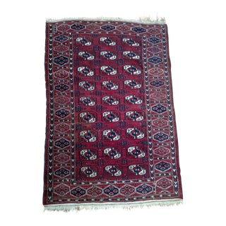 Antique North Indian Wool Area Rug - 3′6″ × 5′4″
