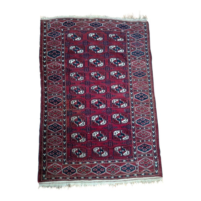 Antique North Indian Wool Area Rug - 3′6″ × 5′4″ For Sale