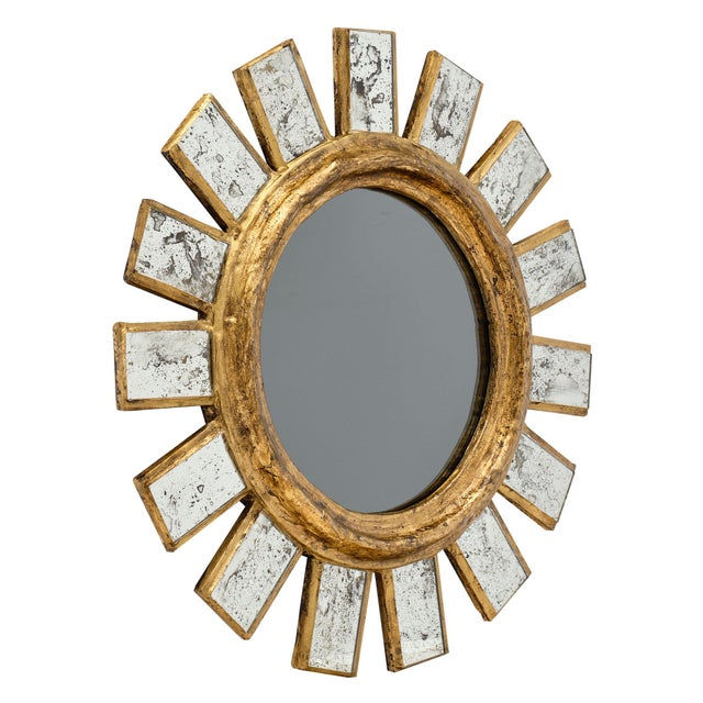 French sunburst mirror - This stylish piece has a central, tinted circular mirror surrounded by gilt wood and antiqued...