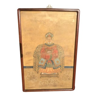 Vintage Chinoiserie Empress on Silk Distressed Painting