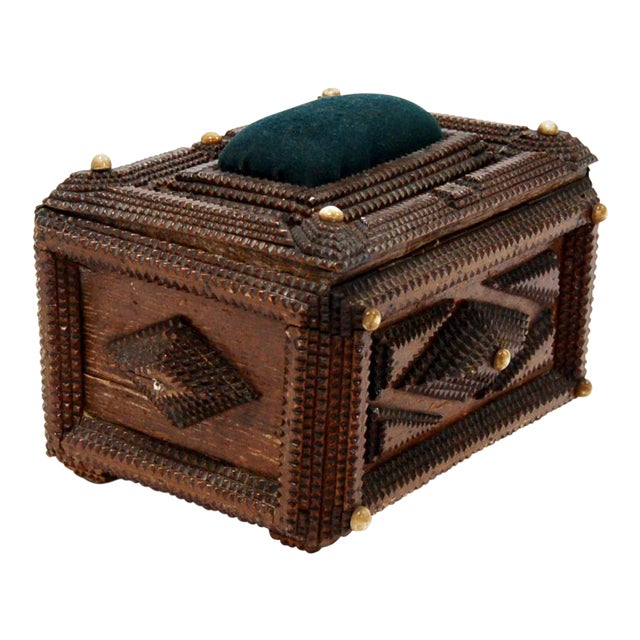 Antique French Tramp Art Sewing Box with Raised Velvet Green Pin Cushion For Sale