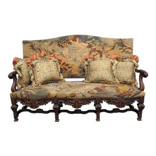 Early 20th Century Vintage Belgian Renaissance Style Needlepoint Sofa For Sale