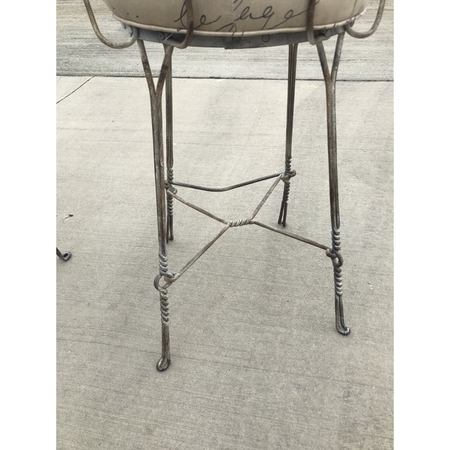 1920's Vintage Twisted Iron Ice Cream Parlor Stools - A Pair For Sale - Image 4 of 8