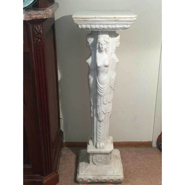 European Maiden Marble Pedestal For Sale - Image 5 of 11