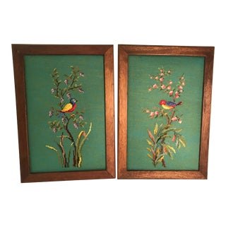 Vintage Mid-Century Bird Motif Needlepoint Panels - A Pair For Sale