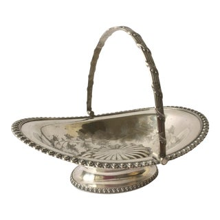 Antique Silver Plated Basket For Sale