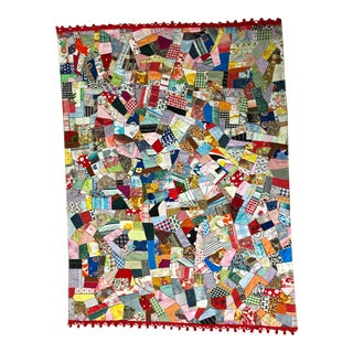 Vintage Cotton Handmade Crazy Quilt With Red Fridge For Sale