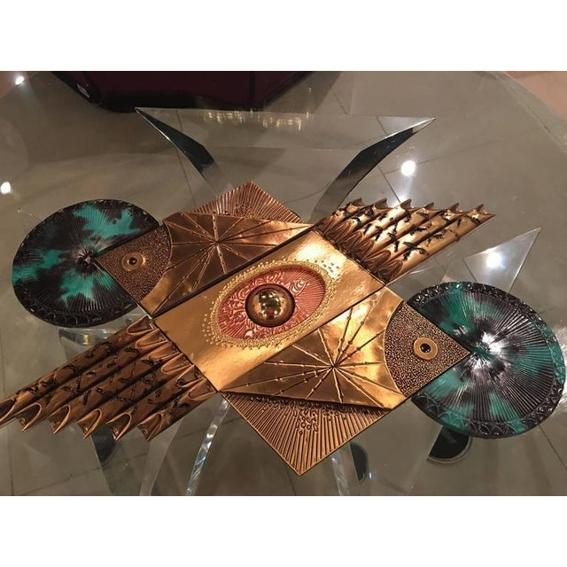 Metal Mid-Century Brutalist Brass Wall Sculpture For Sale - Image 7 of 9