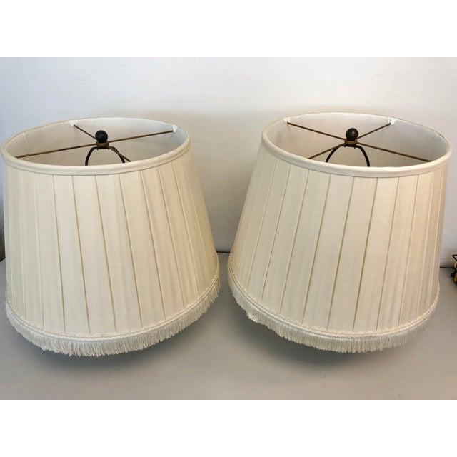 Paul Ferrante A Pair of Box Pleated Traditional Custom Paul Ferrante Cream Shades For Sale - Image 4 of 4