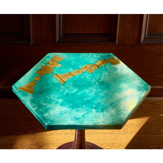 1950s 1950's Aldo Tura Hexagonal Side Table For Sale - Image 5 of 11