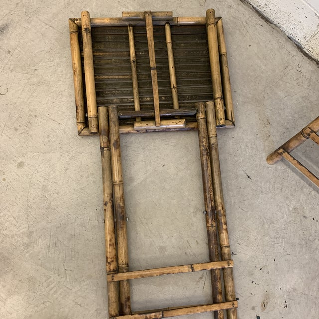 Vintage Burnt Bamboo Folding Tray Tables- a Pair For Sale - Image 9 of 13