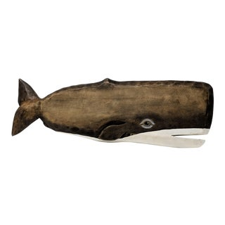 Hand-Carved Folk Art Whale Wall Sculpture