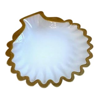 Mid 20th Century French Opaline Shell Dish 24k Trim For Sale