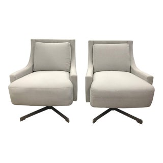Barbara Barry Hbf Grey Swivel Chairs, Pair For Sale