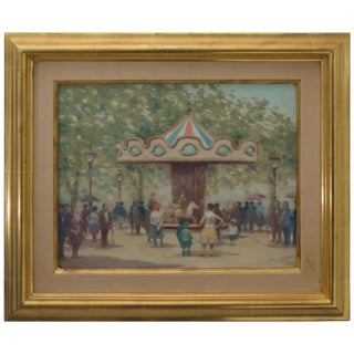 "Oil on Canvas Painting ""Louvre Carousel"" Paris Hazy Day by Andre Gisson For Sale"