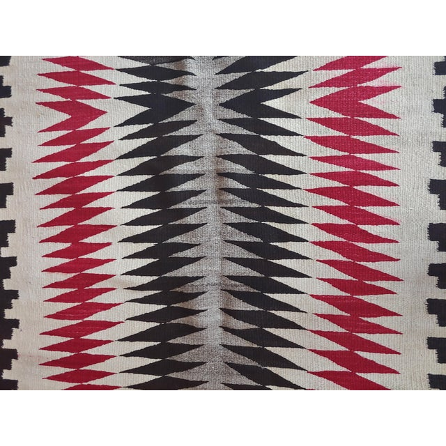 Native American Vintage Navajo Rug W/Red Brown & Beige Design For Sale In Los Angeles - Image 6 of 9