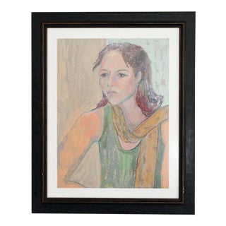 Vintage Framed Colored Pencil Sketch For Sale