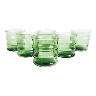 Mid Century Green Low Ball Glass Tumblers - Set of 6