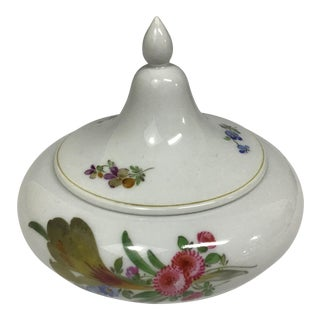 Vintage Meissen Porcelain Round Trinket Box With Flowers For Sale