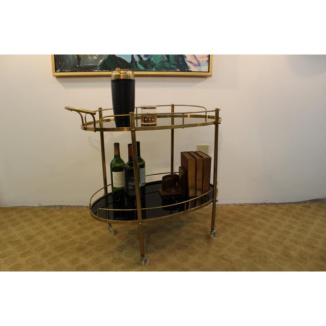 Mid-Century Modern Black Glass & Brass Bar Cart - Image 6 of 7