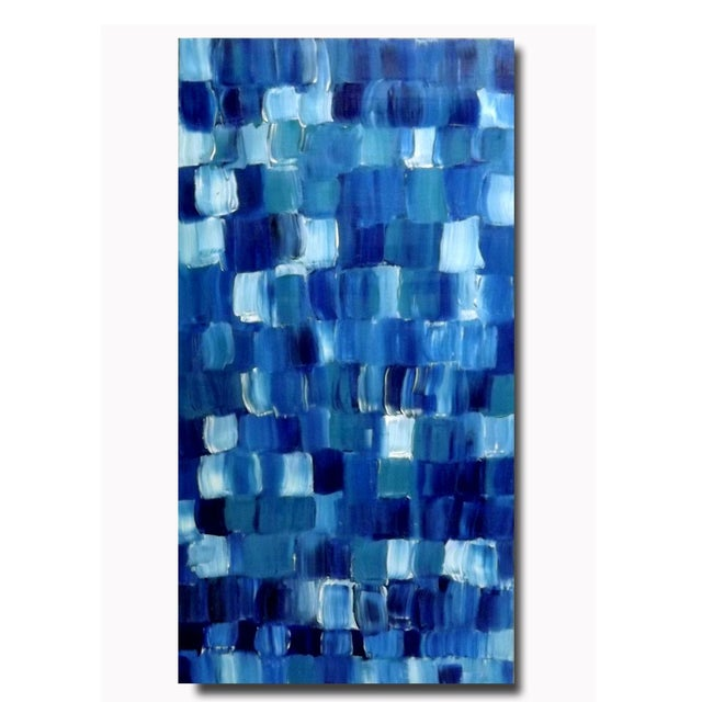 """Blue Thing"" Modern Geometric Crosshatch Painting - Image 3 of 5"