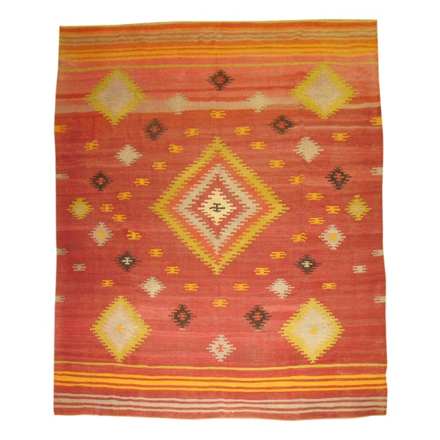 Vintage Red & Yellow Kilim Rug - 8'8'' X 11'8'' - Image 1 of 6