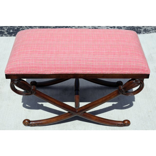 1950s Carved Wood Sword Leg Bench With Pink Upholstery For Sale - Image 5 of 7