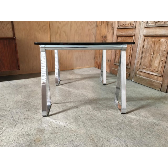 Mid-Century Modern Mid-Century Modern Mirrored Polished Aluminium Sawhorse Table Desk For Sale - Image 3 of 11